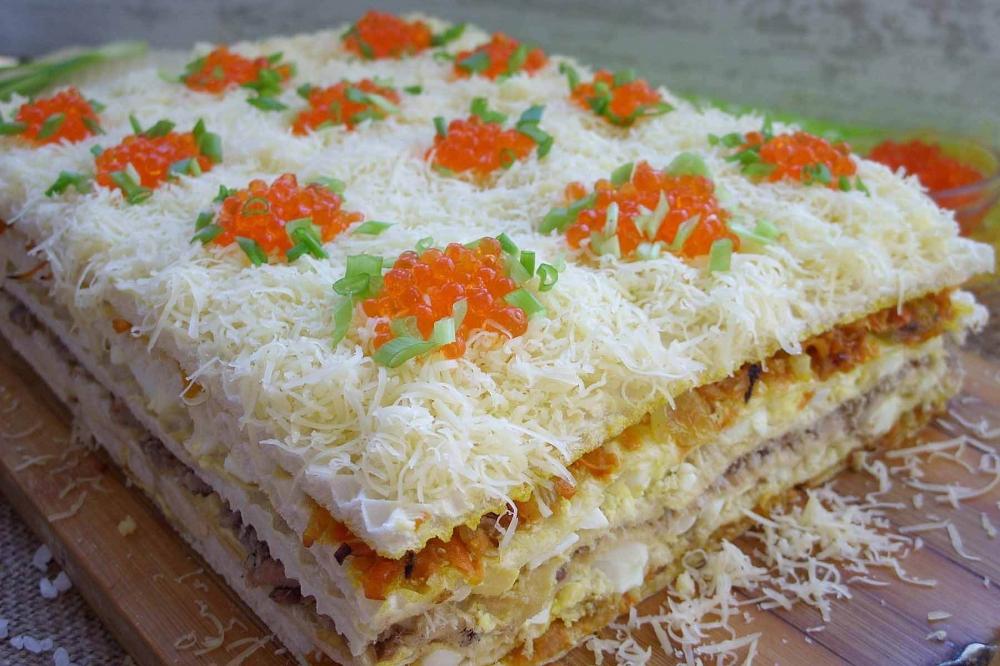 закусочный торт из вафельных коржей рецепт фото для батареи чистый